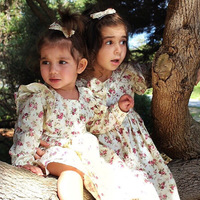 Sisters Dress Spring and Autumn European and American Outfit Baby Girl Floral Princess Fresh Climbing Dress Kids Cute Bodysuits