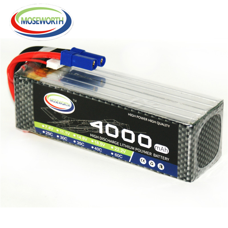 MOSEWORTH RC Lipo Battery  22.2V 6S 4000mAh 25C  Li-Polymer Battery (XT60 Plug) RC Battery for RC Helicopter