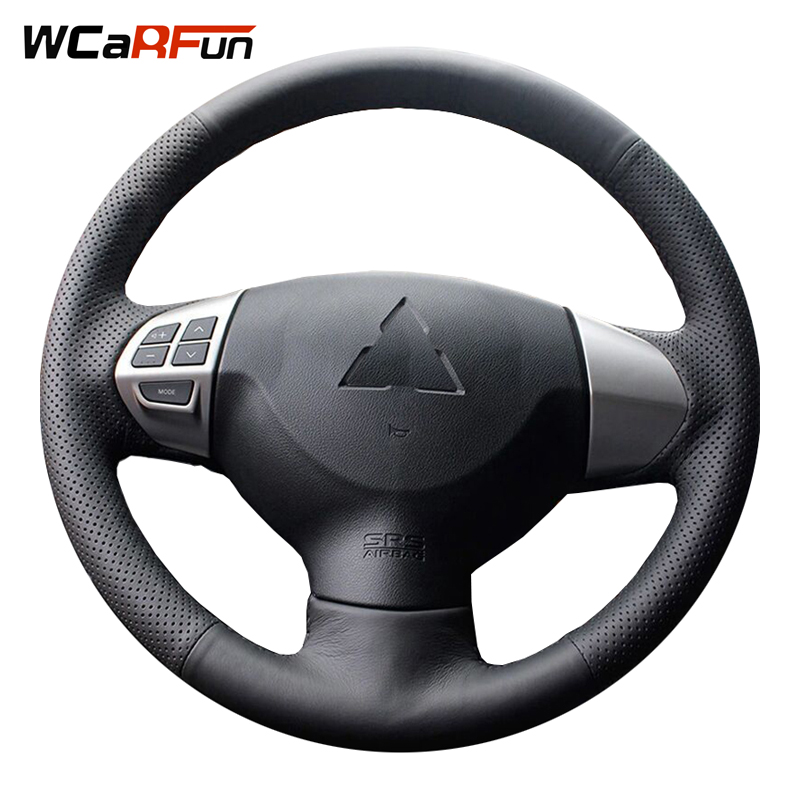 WCaRFun Black Artificial Leather Steering Wheel Cover for Mitsubishi Lancer EX10 Lancer X Outlander ASX Colt Pajero Sport