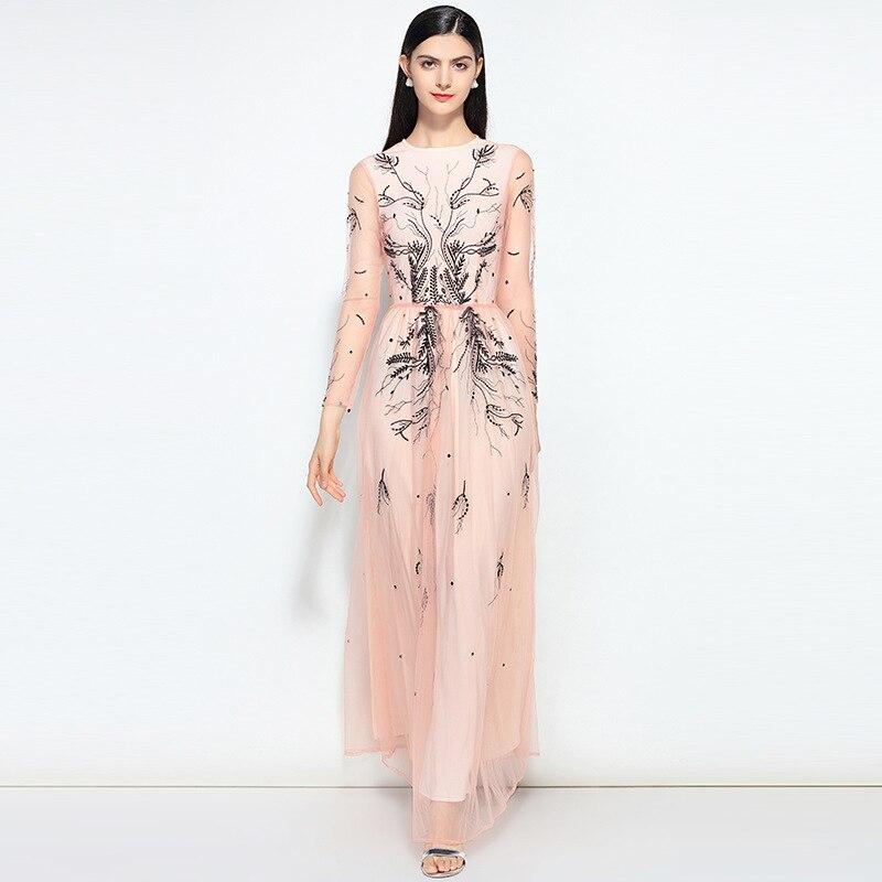 443984453c5c3 Free DHL Runway Designer Maxi Dress 2018 New Women s Fashion High Quality  Mesh Embroidered Elegant Long