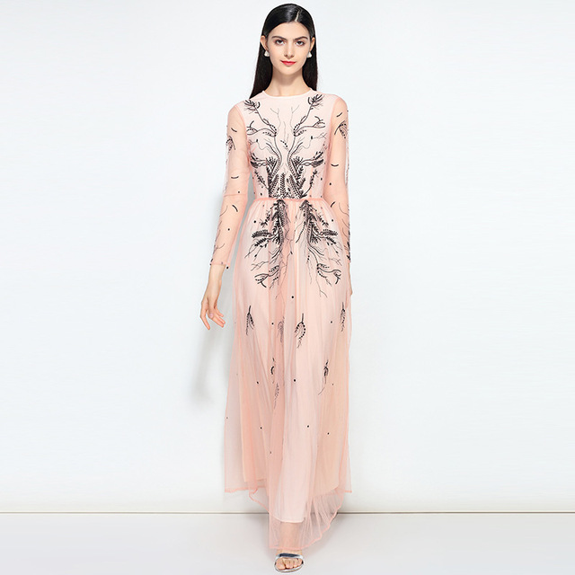 Free DHL Runway Designer Maxi Dress 2018 New Women s Fashion High Quality  Mesh Embroidered Elegant Long Party Dress 2 Colors 6bc0d4b7044a