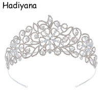 Hadiyana Fashion European Styles Silver Shiny Cubic Zircon Queen Bridal Copper Tiaras Crown Luxury Bridal Hair Jewelry HG6095