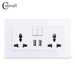 COSWALL 13A Universal Soquete Comutado 2.1A 2 Porta de Carga USB Para Saída Móvel Tomada de Parede Painel de Vidro de Cristal