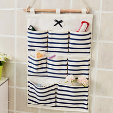 Stripe Boat Cotton Linen Hanging Storage Bag 6-8 Pockets Wall Mounted Wardrobe Hang Pouch Cosmetic Toys Organizer