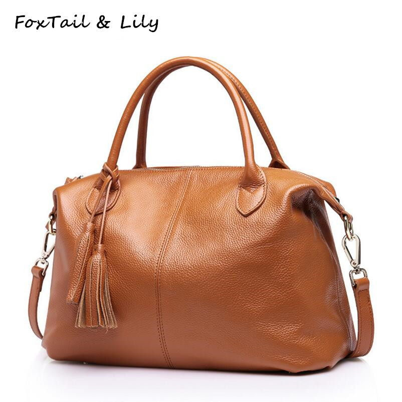 FoxTail & Lily Ladies Fashion Tassel Bag Soft Genuine Leather Handbags for Women Real Leather Crossbody Messenger Shoulder Bags hot sale 2016 fashion women messenger bags soft cowhide genuine leather crossbody shoulder bag for women ladies handbags s 372