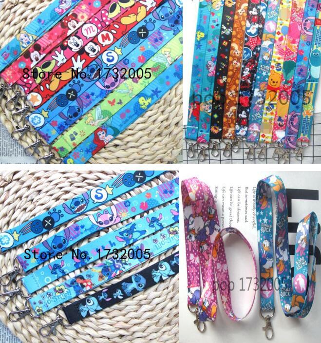 50 pcs mix princess mickey minnie stitch Cello Phone Key Chain Neck Strap Lanyards CV 03