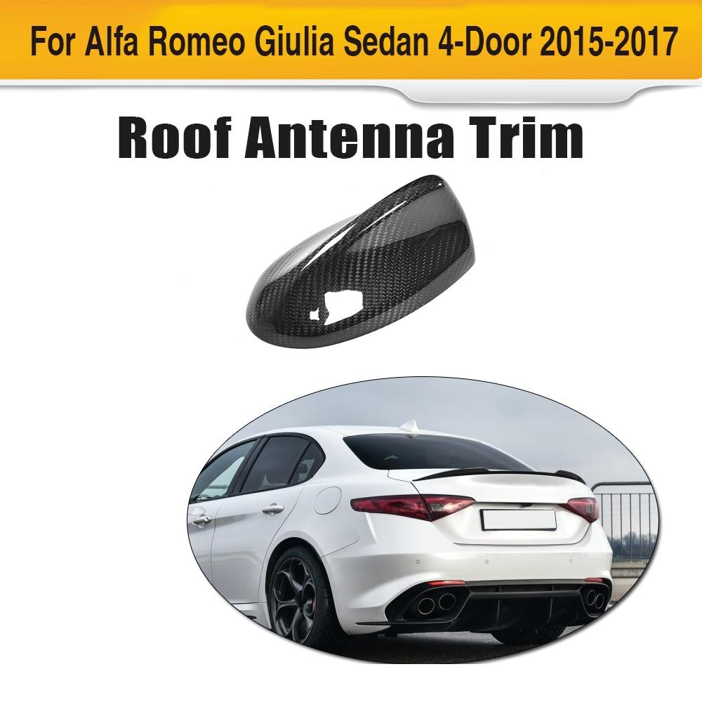 Fibre de carbone Auto toit antenne extérieur garniture pour Alfa Romeo Giulia 4 portes 2015 2016 2017 Quadrifoglio TI voiture autocollant