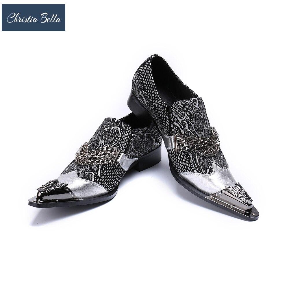 Christia Bella Men's Genuine Leather Metallic Finishing Italian Design Italy Bracelets Slip-On Loafer Shoes Plus Size Dress Shoe plus size textured pocket design dress page 3