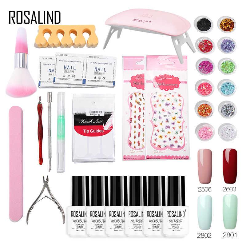 ROSALIND Gel Nagellak Set 4 Kleuren UV 6 w Lamp Voor Nagels Art Gel Lak acryl nail kit Primer top Coat Set Voor Manicure