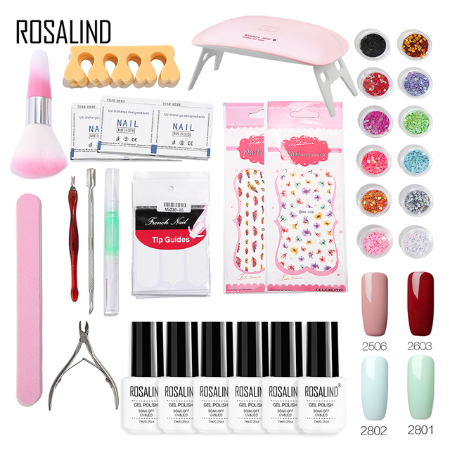 ROSALIND Gel Nail Polish Set 4 Colors UV 6W Lamp For Nails Art Gel Lacquer acrylic nail kit Primer Top Coat Set For Manicure
