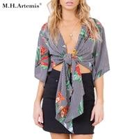 M H Artemis Flower Print Top Bow Tied V Neck Crop Top Women Batwing Sleeve Summer