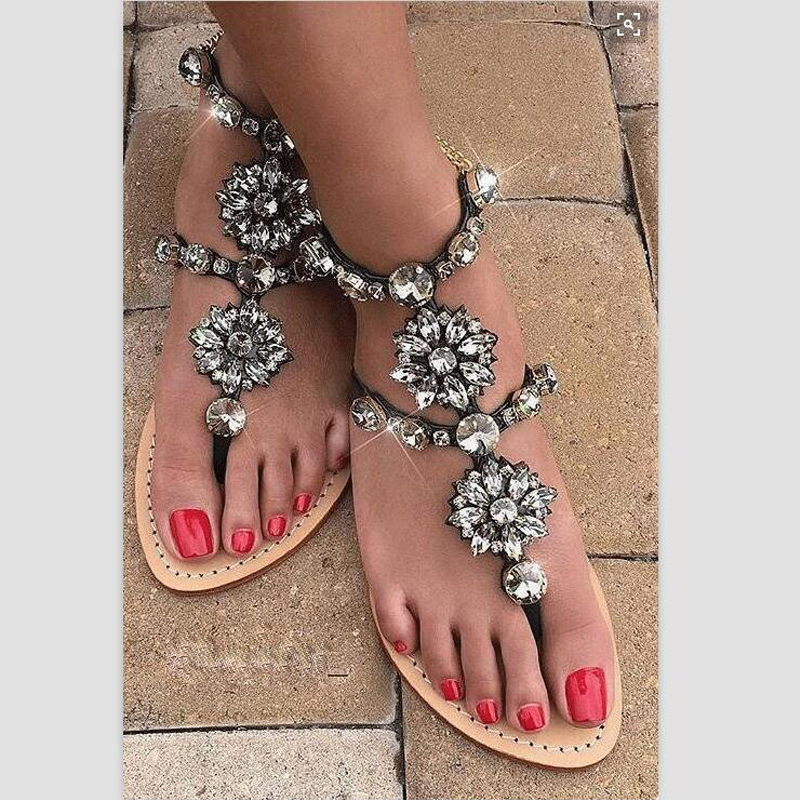 2017 Bohe Women Summer Fashion Rhinestone Chain Gladiator Sandals Women's shoes Flat Heel Flip-flop zapatos mujer Plus size 47