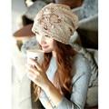 2016 de la gorrita tejida sombreros para las mujeres de Nueva Knit Baggy casual algodón gorro con Estrella Femenina Caliente Del Invierno sólido Capo Casquillo de la Cabeza multicolor