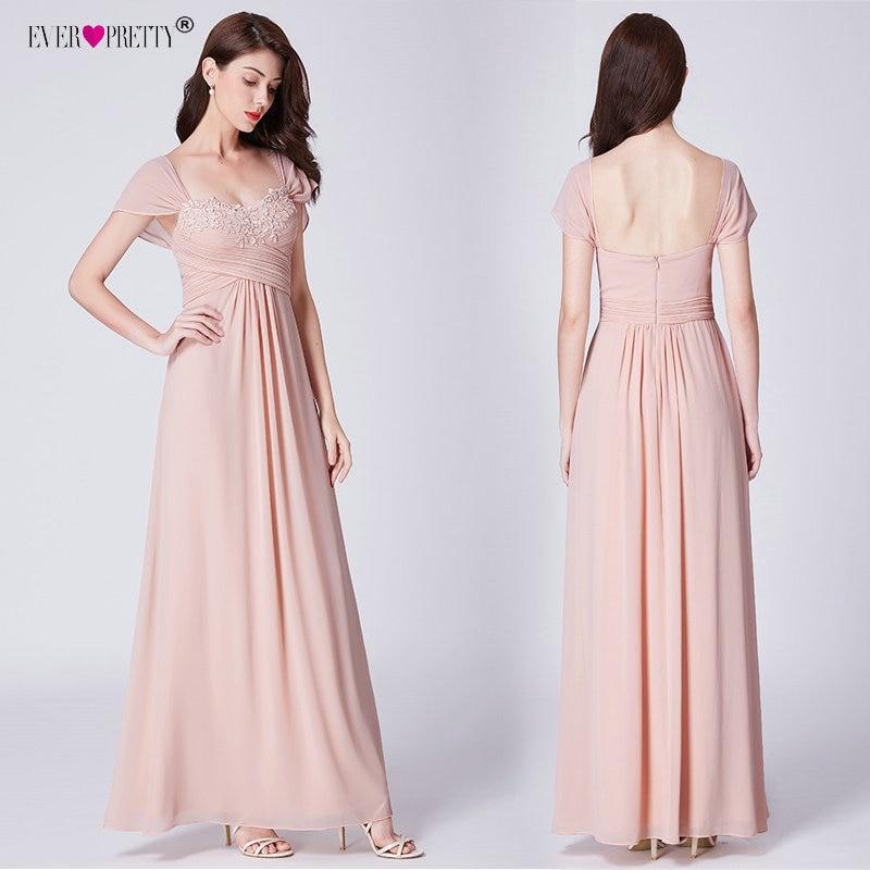 Ever довольно длинные бледно-розовый шифон подружкам невесты с Кружево Аппликации Элегантные линии спинки свадебное платье для гостей вечер...