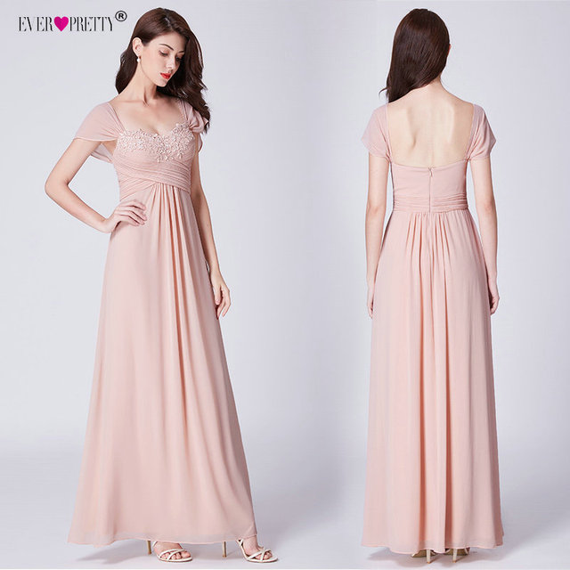 276a01727e2 Ever Pretty Long Blush Pink Chiffon Bridesmaid Dresses With Lace Appliques  Elegant A Line Backless Wedding Guest Dress Party