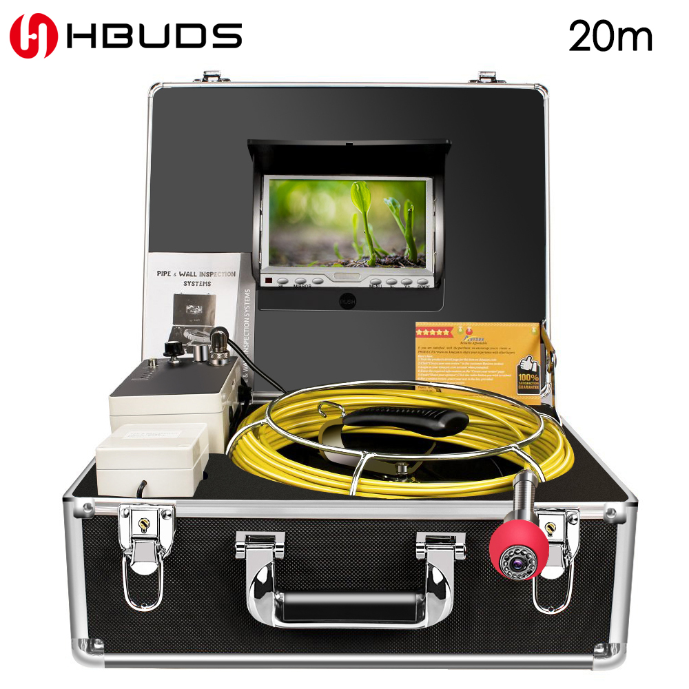HBUDS Pipe Inspection Camera,Pipeline Drain sewer Industrial Endoscope PC20M Waterproof IP68,1000TVL Sony CCD 7 Inch LCD MonitorHBUDS Pipe Inspection Camera,Pipeline Drain sewer Industrial Endoscope PC20M Waterproof IP68,1000TVL Sony CCD 7 Inch LCD Monitor