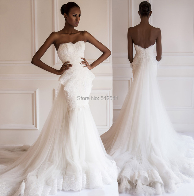 55902d1b348 Fashion Design Sweetheart Trumpet Mermaid Wedding Dresses NEW 2015 Applique  Lace Beads Peplum Sweep Train Bridal Gown yk1A108