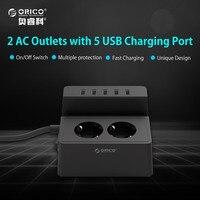 ORICO ODC Güncellenmiş Ofis Ev 2 AC AB Güç Şeridi ile 5 Port USB Şarj iphone/iPad Ev aletleri-Siyah/Beyaz