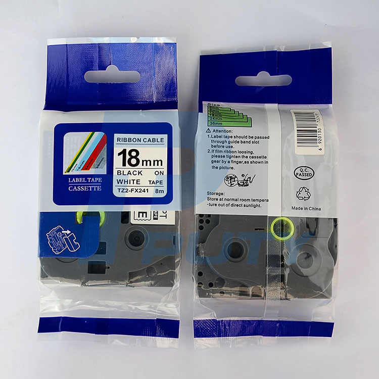 2 compatible with Brother TZ-FX241 Laminated flexible Label Black//White 18mm