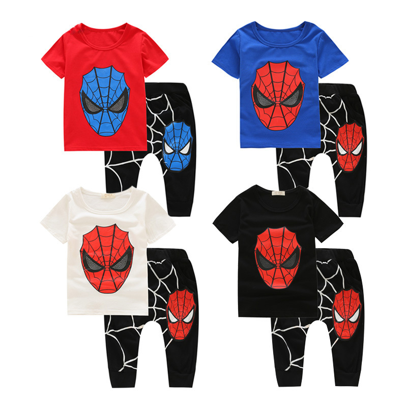 Summer Boys Clothes Set Kids Spiderman Clothing Set Cotton Print T Shirt+Harem Pants Kids Clothes Roupas Infantis Menino