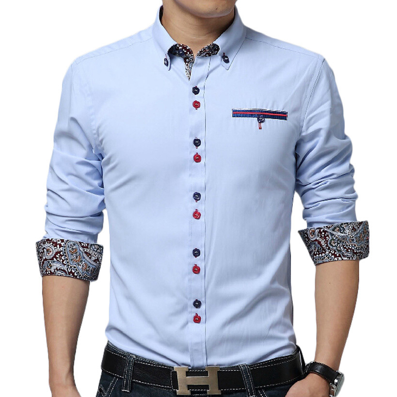 New Sky Blue Men Shirt Chemise Homme 2016 Fashion Design