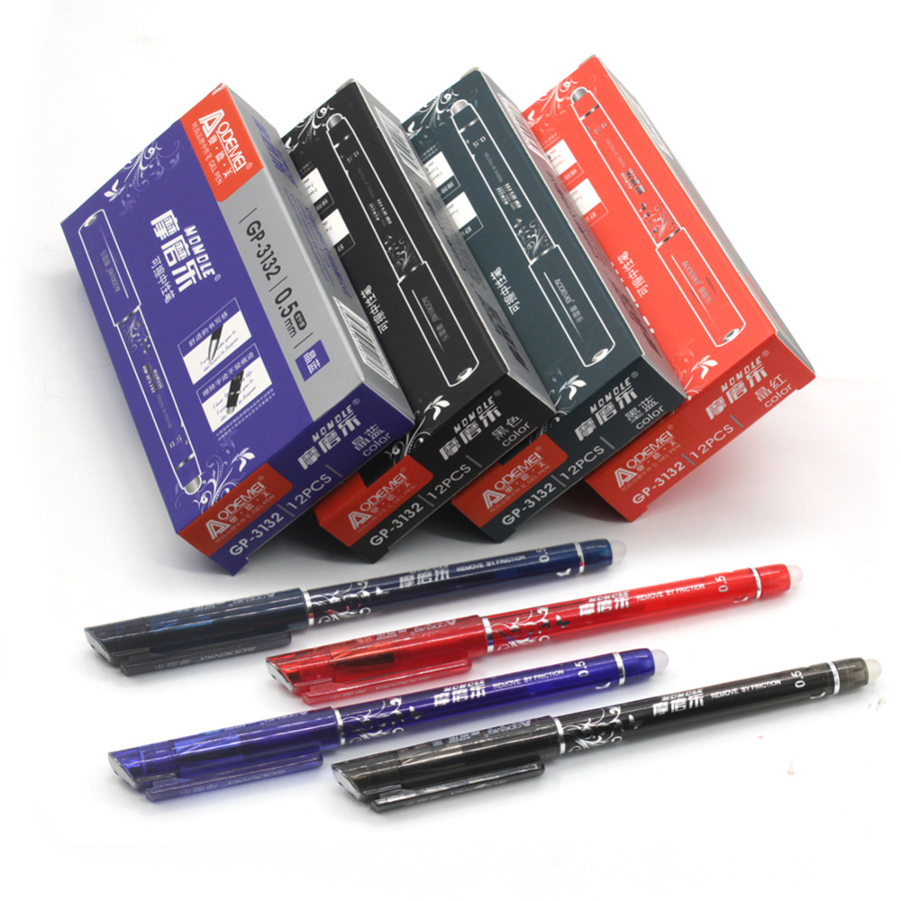 12PCS/Pack Erasable Pen Ink 0.5mm Gel Pen 4 Color Avaliable For Children's Gift Free Shipping