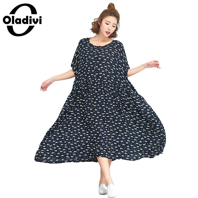 ef5c4816dd3 Oladivi Oversized Casual Loose Dress Plus Size Women Fashion Print Free Dresses  Lady Long Top Shirts Female Tunic Vestidios 2018-in Dresses from Women s ...