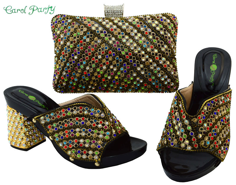 2017 African Fashion Shoes and Bag Set Decorated with Rhinestone Nigerian Shoes and Bag Set for Women YM005 characteristic floral and butterfly shape lace decorated body jewelry for women