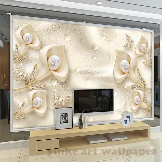 Moderne 3d wallpaper callalily schmetterling 3D seide Wandbild ...