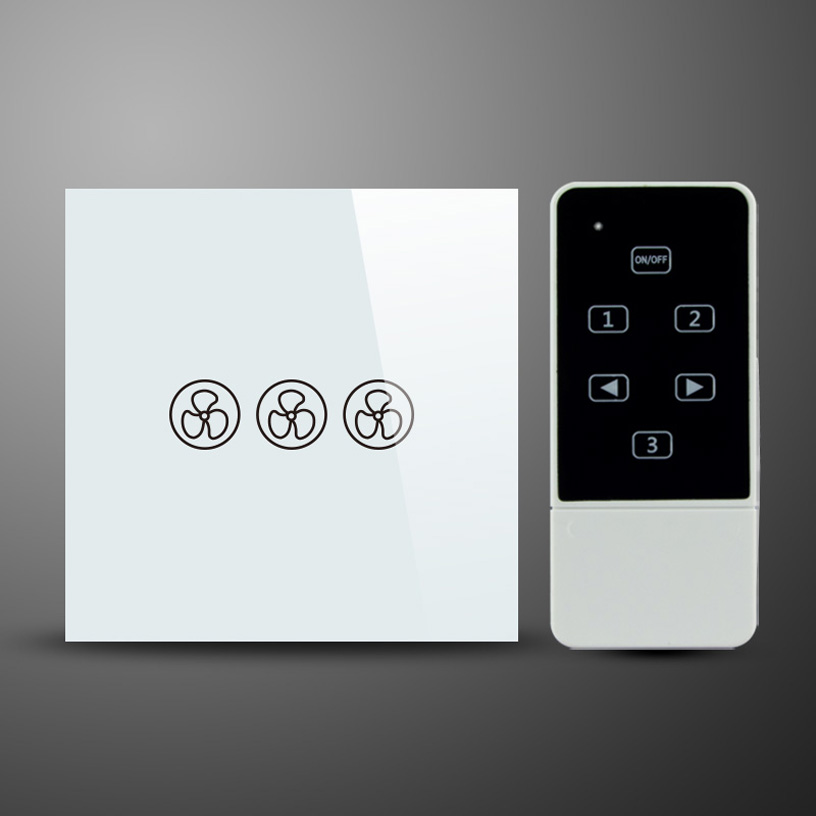 UK Type Wireless Remote 3 Speed Fan Switch Ceilling Fan Speed Control Touch Switch with RF 433Mhz Remote Control Switch black color 2gang touch light switch with wireless remote control rf 433mhz glass panel smart wall touch switch uk type