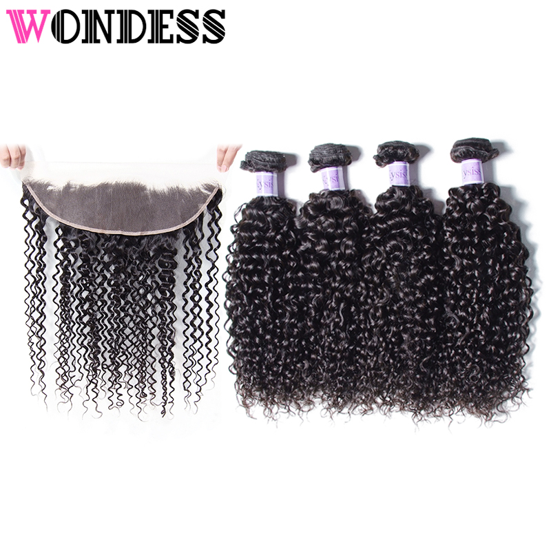 Wondess Brazilian Curly Weave with Closure 13x4 Lace Frontal Natural Color Curly Human Hair 4 Bundles and Frontal Virgin Hair