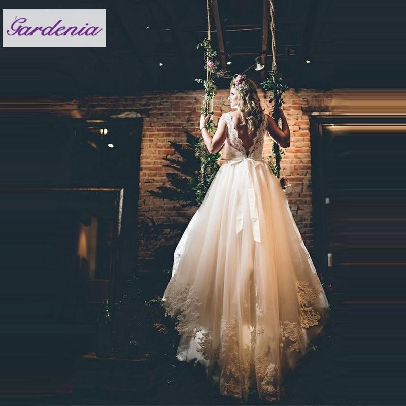 Vintage Fairytale Wedding Dresses Open Back A line Floor Length ...