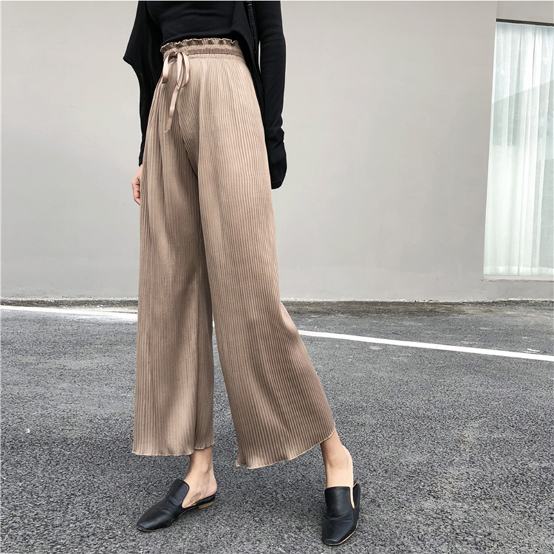 2019 Streetwear Pleated   Pants   Women Elastic High Waist   Wide     Leg     Pants   korean Spring Summer trousers women Pantalone Femme