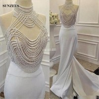 Luxury Pearls Mother Of The Bride Dress Mermaid High Neck Long Women Party Gowns Evening Night Dress Real Photos CM077