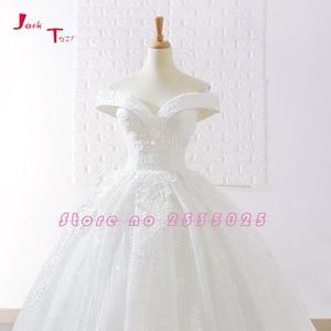 Image 3 - Jark Tozr New Arrive Off The Shoulder Short Sleeve Gorgeous Princess Ball Gown Wedding Dresses Vestidos De Noiva Princesa