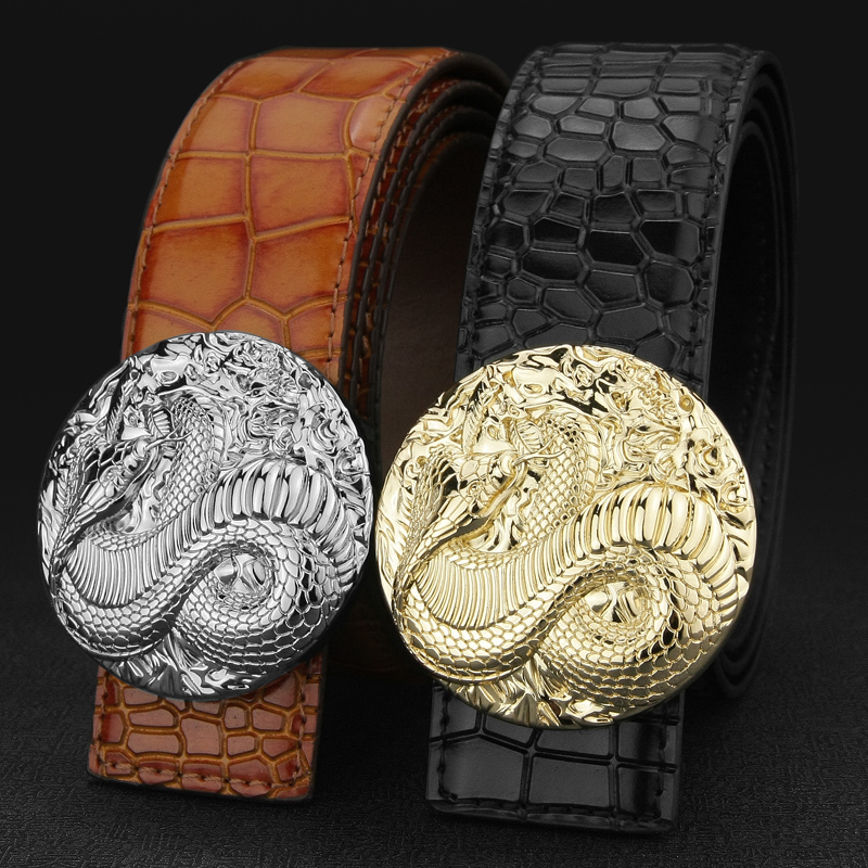 The New fashion snake buckle men designer brand leather belt man Brown wide Childrens Belt Boys luxury jeans Waist Strap