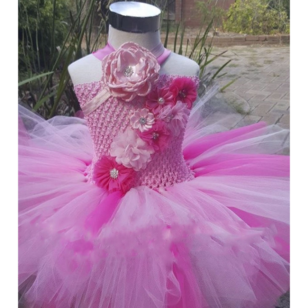 Shade Pink Flower Girl Birthday Party Tutu Dress Kids Knee Length Ball Gown Wedding Bridesmaid Tutu Dresses For Princess Girls цены онлайн