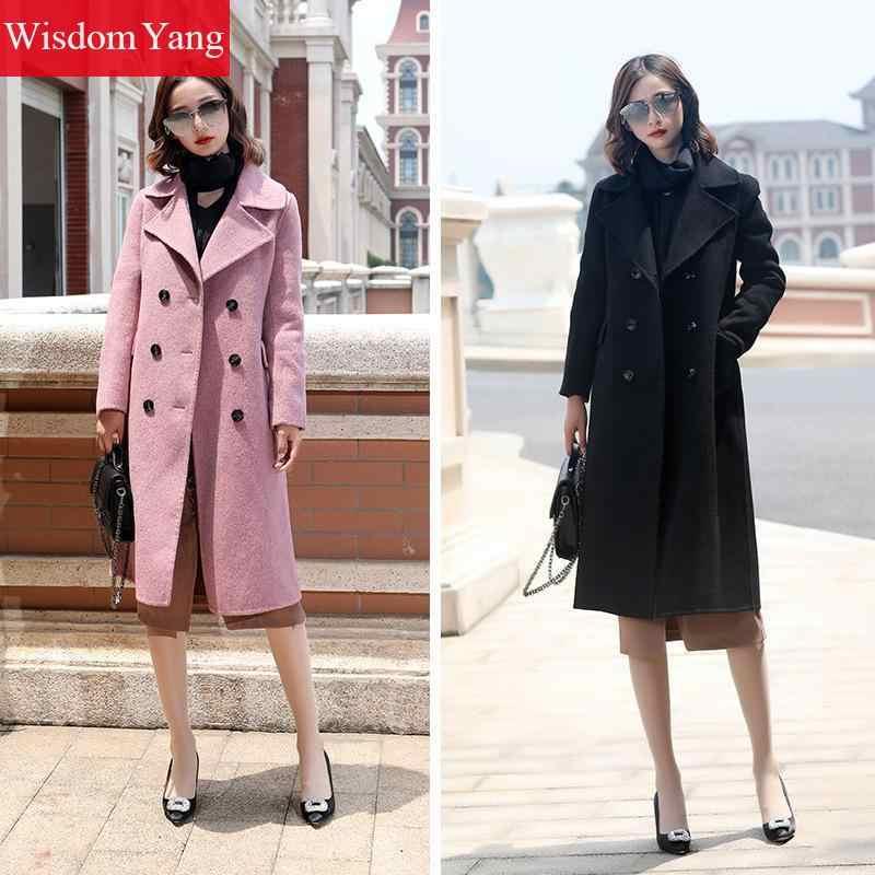 Elegante negro púrpura Camel mujeres ovejas lana abrigos invierno suelto cortavientos mujer Xlong lana abrigo mujer prendas de vestir exteriores