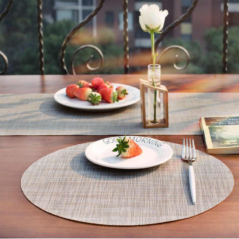 Ellipse Plastic Placemats Round Table Coaster Set Waterproof Pvc Pad Mat Kitchen Accessories Decoration Home Restaurant Tablemat