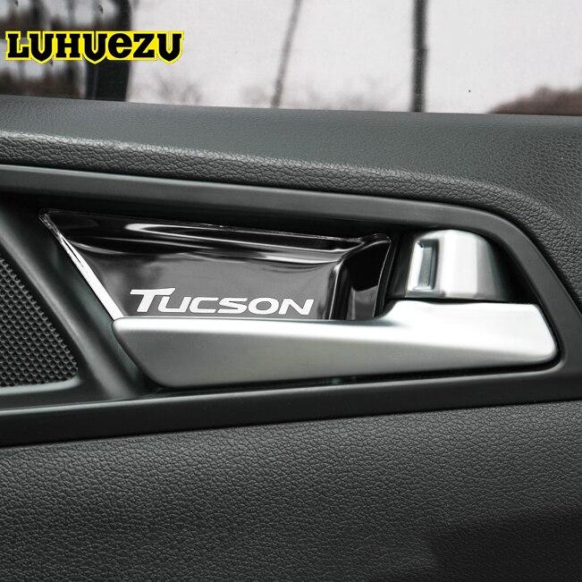 Materiale in Acciaio Inox Maniglia Interna Della Porta Intestinale Calotta di protezione Per Hyundai Tucson 2015 2016 2017 2018 Accessori