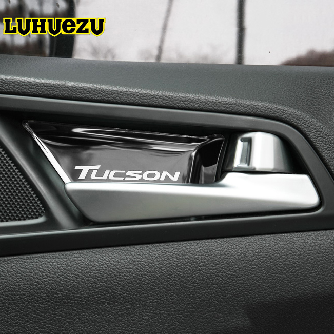 Stainless Steel Material font b Interior b font Door Handle Bowel Protective Cover For Hyundai Tucson