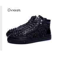 Long Rivet Toe Fashion Men Casual Shoes Luxury Party and Prom Men Loafers High Top England Designer Street Sequins Men Flats