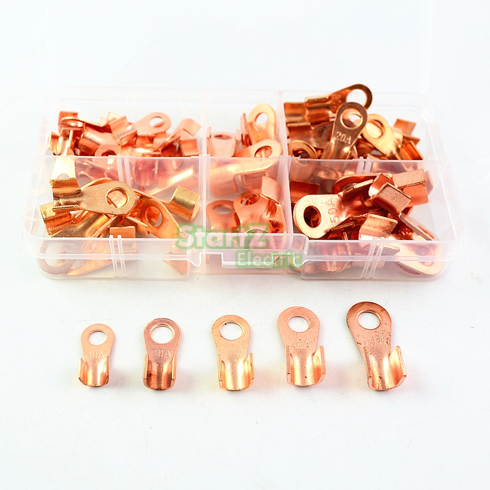 70pcs Copper Battery Cable Connector Terminal Open Lugs Wire Terminals OT 10/20/30/40/50A open cable connector ring lug copper passing through terminals ot 200a 250a 300a 400a 500a 600a 800a 1000a