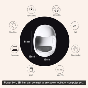 Image 2 - Egg Shape 3W UV LED Lamp for Nail Single Finger Lamp Nail Gel Polish Dryer Drying Machine Smart Sensor 45s / 60s USB Connector