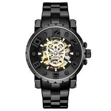 JAMEKER Men Wristwatch Golden Skeleton Clock Mechanical Male Wrist Watch Skull literal  Relogio Masculino цена в Москве и Питере