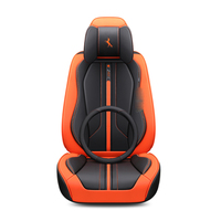 3D Full Surround Design Sports Cushion Wear Resistant Leather Black Red Orange Blue White Car Seat Cover For 5 Seats Cars