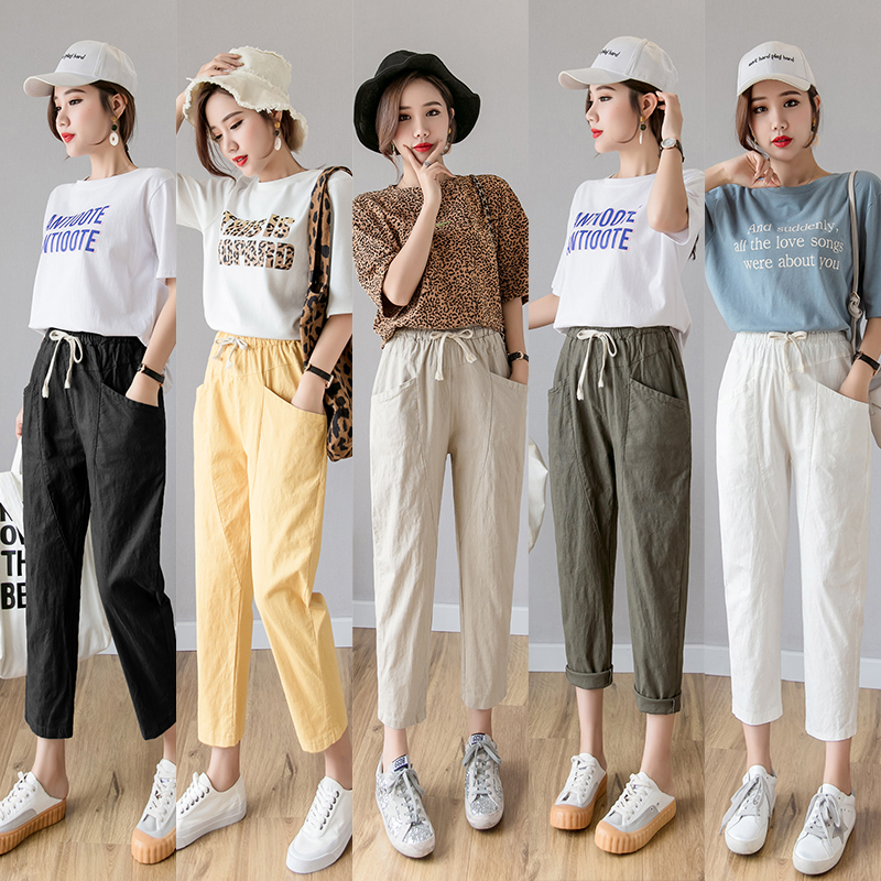 JKKUCOCO Calf Length Harem Pants Mid Drawstring Waist Pocket Sold Cotton Linen Spring Summer Pants Casual