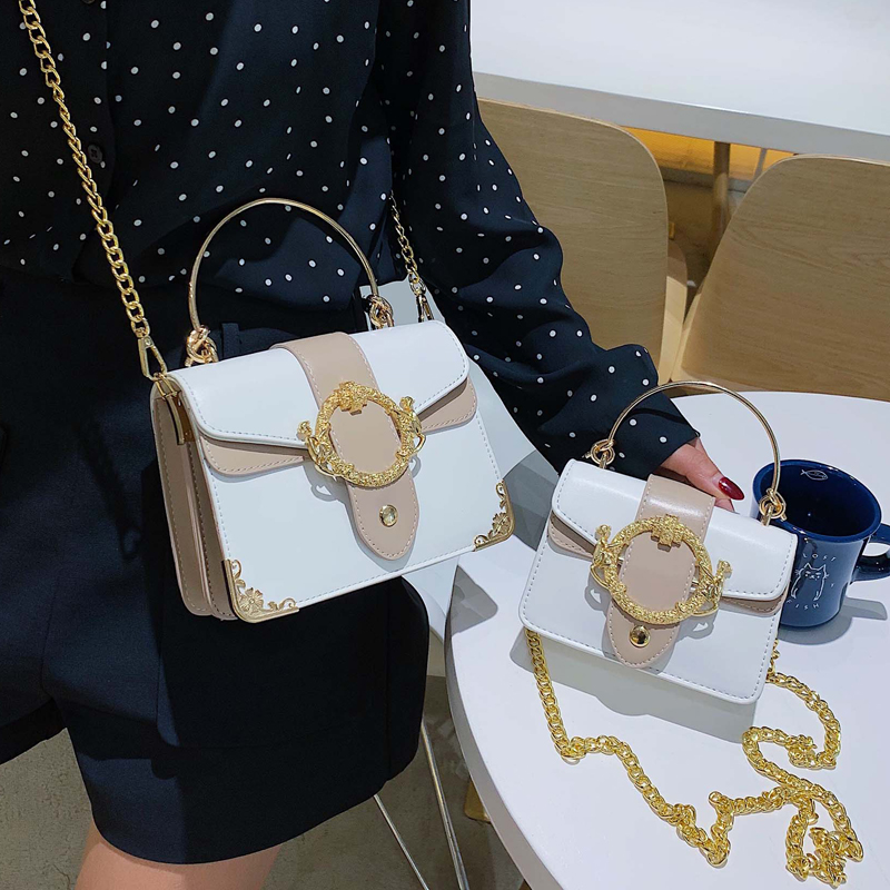 Elegant Femael Metal Ring Tote Bag 2019 Fashion New Quality PU Leather Women's Designer Handbag Chain Shoulder Messenger Bag