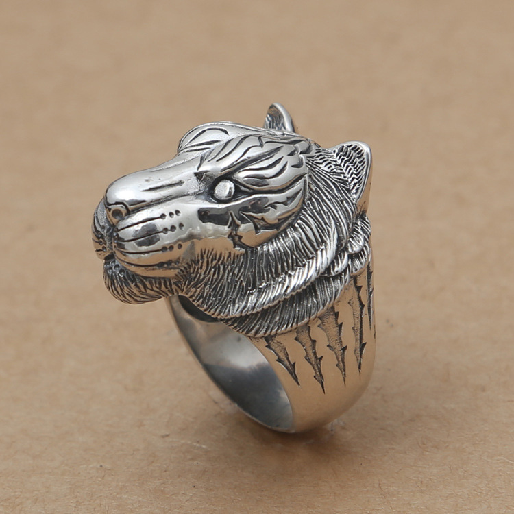925 Thai silver restoring ancient ways is domineering personality male tiger head width ring 925 silver men s ring thai silver national wind restoring ancient ways domineering silver ring pop open wholesale offered
