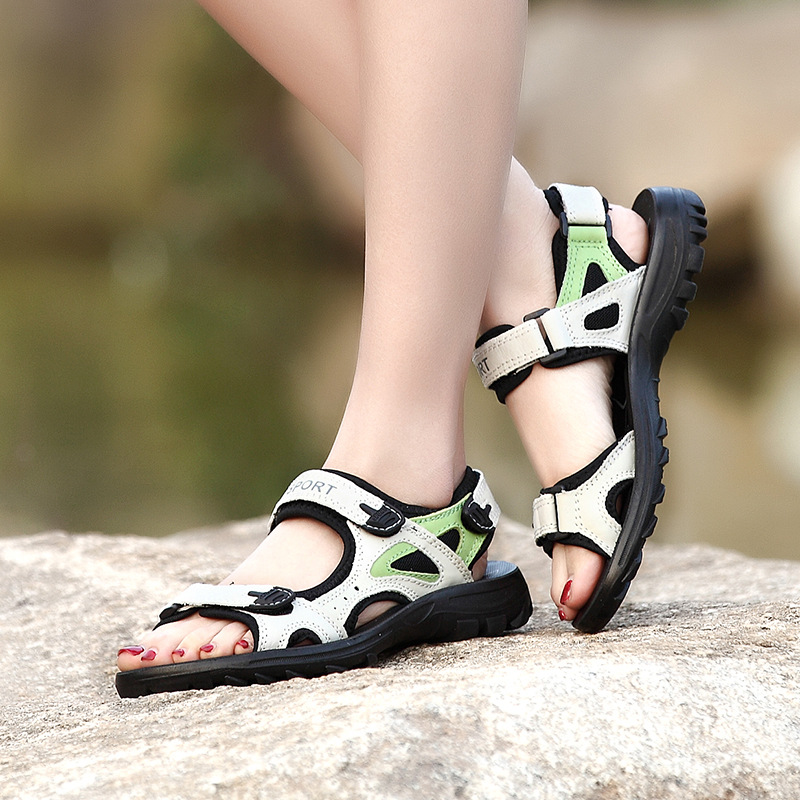 2019 Genuine Leather Outdoor Hiking Sandals Women Beach Shoes Summer Breathable Non slip Sneakers Woman Female
